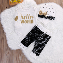 3pcs suit !! Newborn Baby Girl Boy Cotton letter printed Romper+Pants +bow tie hat autumn winter  Outfits Set Clothes