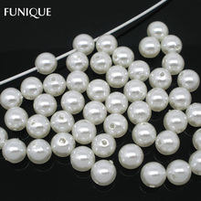 FUNIQUE Fashion Acrylic Matte Beads Red White Round Ball Spacer Beads Women For Bracelet Necklace Bead Statement Jewerly Finding