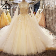 New Style High-end Champagne Tulle Wedding Dress Romantic Appliques Sequined Luxury Bridal Gowns 2017 Vestido De Noiva