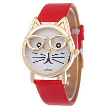 Women Lovely Watches Cute Glasses Cat Wrist Watch Red