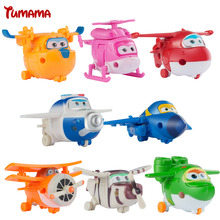 8PCS/Set Super Wings Mini Airplane ABS Robot toys Action Figures Super Wing Transformation Jet Cartoon Children Kids Brinquedos