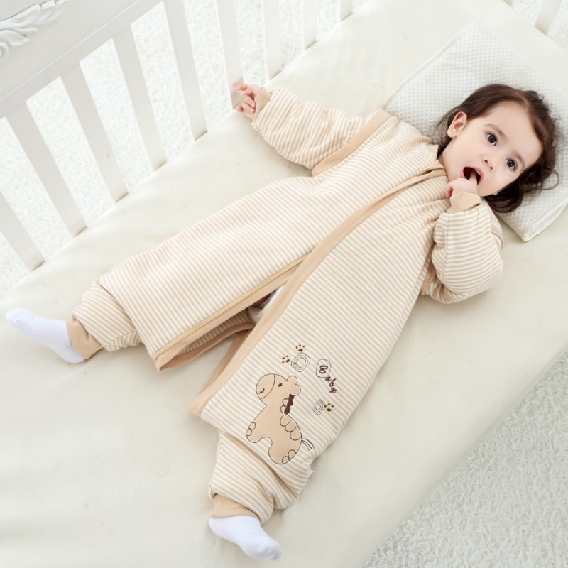 High-quality colored cotton childrens sleeping bags cotton baby warm type anti-kicking child sleeping bag leg pajamas<br>