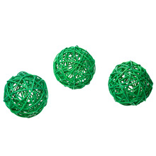 "Christmas Rattan Ball Home Decoration DIY Craft Green/Red/Pink/Beige/Coffee/Purple 8cm(3 1/8"") Dia., 2 PCs"