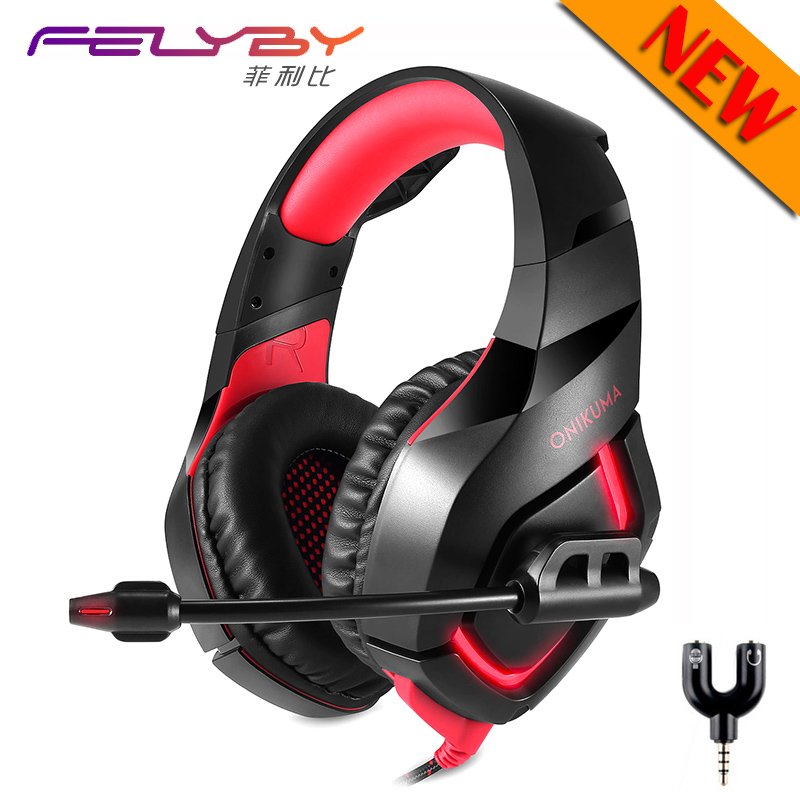 New Cool red and blue noise Canceling gaming headphones for computer PS4 PSP phone 3.5mm + USB Wired headphone with Microphone(China)