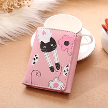 Women Wallet Leather Coin Purses Bifold 2017New Credit Card Holder Designer Cute Cat Hasp Ladies Short Clutch Carteira Femme *