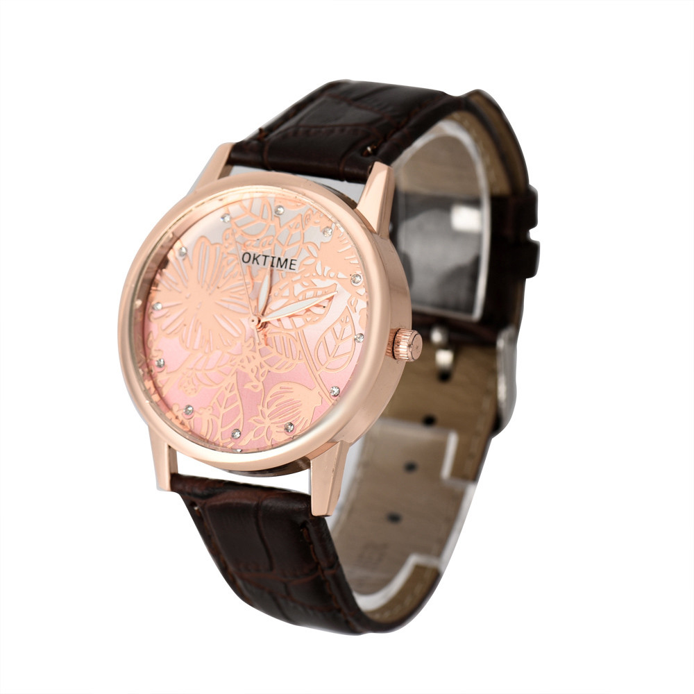 Ladies Fashion Quartz Watch Women Rhinestone Leather Casual Dress Womens Watch Rose Gold Crystal reloje mujer 2016 montre #1129<br><br>Aliexpress