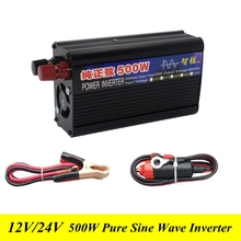 500W Pure Sine Wave Power Inverter DC 12V/24V to AC 220V Power Inverters Household DC/AC Power converter for TV/Fan/Computer