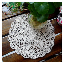 Handmade Crochet DIY Placemat Round Hotel Dinner Decor Coaster Flower Clothes Accessory 27CM  Table Doily Wedding Prop 12pcs/lot