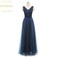 Real Sample Photo V Neck Tulle Beaded Floor Length Navy Blue Long Evening Party Dresses Sexy See Through Evening Gown