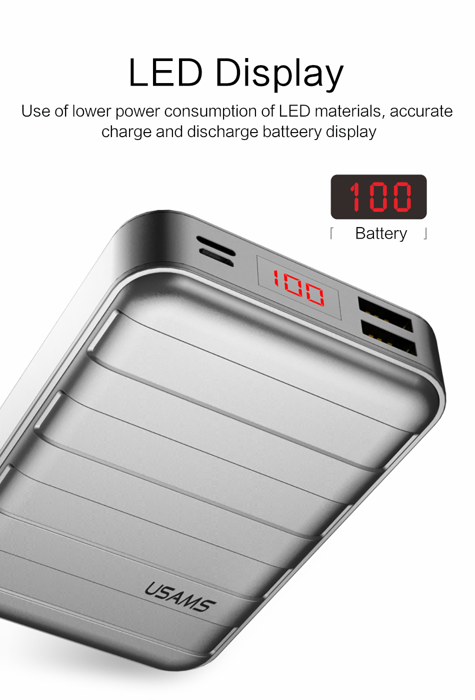 Power Bank 000mAh USAMS LCD Portable PowerBank External Battery Dual USB Charger For Xiaomi iPhone 7 6 6S 5 Mobile Phones Tab 11