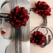 1PCS Cosply Beauty Mask Woman Sexy Lace Mask Red Rose Black Mesh Face Mask Princess Cosplay Party Mask(China)