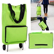Shopping Trolley Bag With Wheels Portable Foldable Luggage Bag Cart Packet Drag Collapsible Travel Supermarket Buy Vegetables