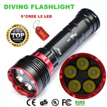 DX5S diving 8000lm underwater flashlight 5xcreeXM-L L2 LED dive torch light waterproof brightness diving led flashlight