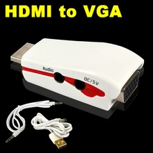 Hot sale HDMI to VGA Adapter with Audio Cable Power Male To Female 1080p HDMI to VGA Converter For PC/TV/for Xbox 360 for PS3