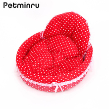 Petminru Dot Cat Dog Princess Beds Lace Dog House Puppy Pet House Cat Sofas Dog Nest Pet Nest Kennel(China)