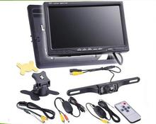 "7"" Wireless Car TFT LCD Rear View Monitor License Plate Frame Camera Reversing System Parking Kit(China)"