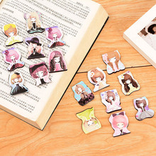 Cute Kawaii Girl Paper Book Marks Creative Noctilucent Magnetic Bookmarks School Supplies Free Shipping 3806