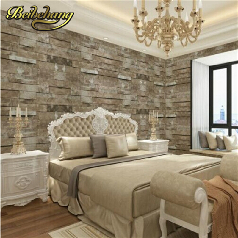beibehang wallpaper Retro Modern Reclaimed wall Brick/Stone Effect Wallpaper in cafe bar entrance hallway living room tapete<br>