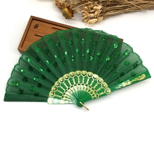 Wholesale Free Shipping Home Decoration Crafts Vintage Retro Peacock Folding Fan Hand Plastic Lace Dance Fans