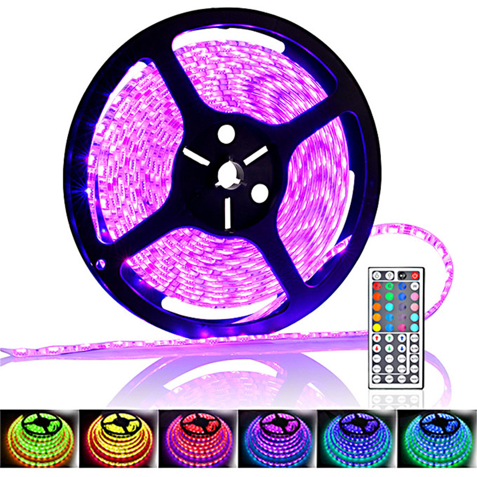 Waterproof MF-5050RGB 300 SMD LED RGB Flexible Strip IP65 Waterproof with 24-Key Controller (12V 5m)-US for car/ bridge/ mall<br>