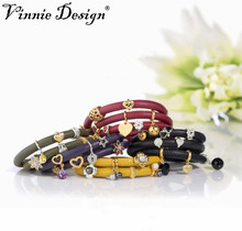 Vinnie Design Jewelry 40cm Genuine Sheepskin Single Leather Bracelet with Magnetic Clasp Collection by Endless Jewelry