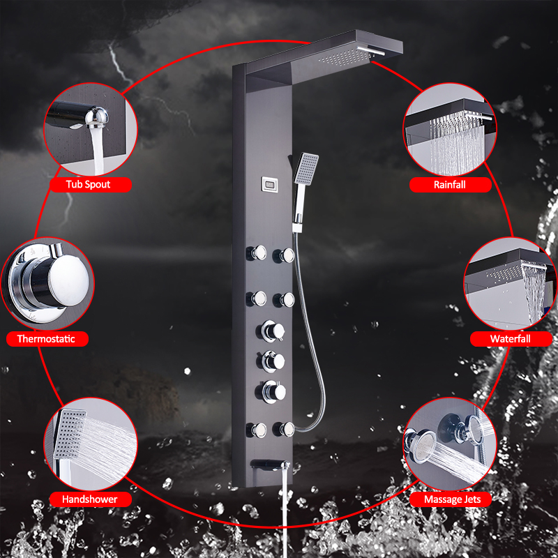 Black Rainfall Waterfall Shower Panel Massage Jets Shower Column Thermostatic Mixer Shower Faucet Tower Shower Tub Spout