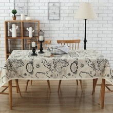 Table Linen Table-cloth Map/Iron Tower/Black Plaid/White Plaid/Grey Plaid/Green grass Printing Cotton Tablecloths LH8s