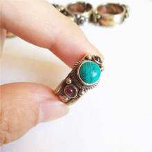 R160 Tibetan Jewelry Nepal Rose Copper Inlaid Enhanced Turquoise Rings Tibetan Jewelry Hand Rings wholesale