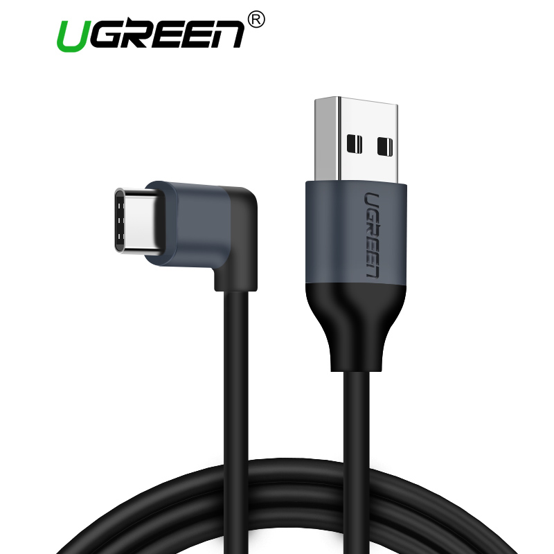 Ugreen USB Type C Cable Samsung Galaxy S9 2A Type C Cable 90 Degree USB C Fast Charging Data Cable Nintendo Switch USB-C