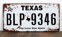 "RONE0164 Car License Plates number About "" texas BLP-9346 "" vintage Vintage Metal tin signs Wall art craft painting 15x30cm(China)"