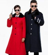 hotel reception uniform winter hotel coat long sleeve autumn hotel staff uniform red guard uniform