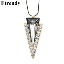 Buy Crystal Geometric Triangle Long Pendant Necklace Women Fashion Jewelry Wholesale Bijoux Classic Sweater Necklace Fine Gifts for $4.08 in AliExpress store