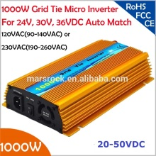 1000W Grid tie micro inverter, 20V-50VDC, 90V-140V or 190V-260VAC, workable for 1200W, 24V, 30V, 36V solar panel or wind system(China)