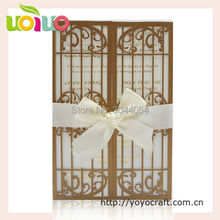 Custom gatefold bird wedding invitation card 50pcs ribbon bow available print any font letters invitation cards laser cut
