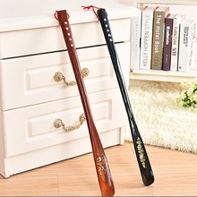 55 cm Ultra Long Mahogany craft wenge Wooden Shoe Horn Professional Wooden Long Handle Shoe Horn Lifter Shoehorn Random Color(China)