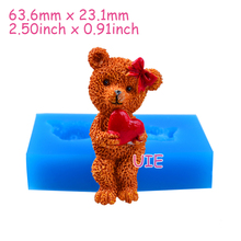 DYL525U 63.6mm 3D Girl Bear Silicone Mold - Animal Mold Cake Decoration, Fondant, Baking Tools, Cookie Biscuit, Resin, Candle