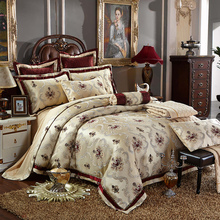 4/6 Pcs Luxury Silk Jacquard Coffee Bedding Sets King/Queen Size Wedding Bedclothes Bedspread duvet Cover /Pillowcases(China)