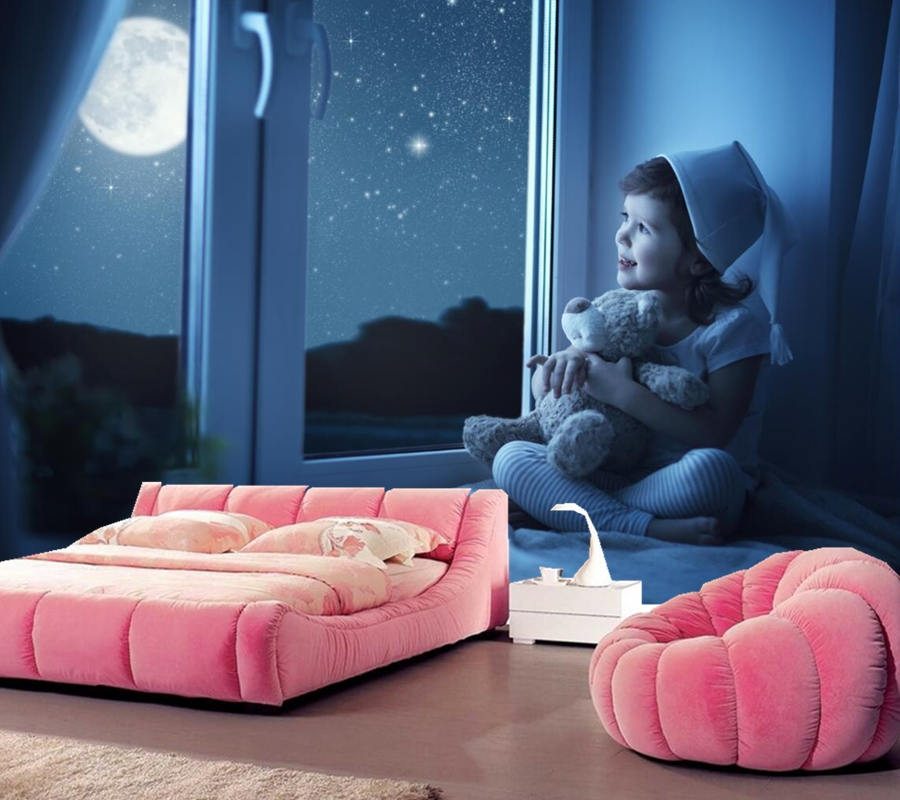 Papel de parede,Toys Bears Little girls Moon Window Children wallpapers,living room tv sofa wall kids room custom 3d murals<br>