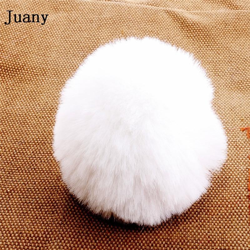 pompom key chain fluffy rabbit fur ball with bell key chain fake fur keychain women car bag key ring 2