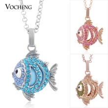 Vocheng Angel Locket Fish Necklace 3 Colors Plating Copper Metal Crystal Cage Prayer Box with Stainless Steel Chain VA-087