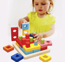 DIY Toy Wooden Geometric Blocks Early Education Children's Birthday Present Educational Intelligence Gifts Creative Plaything