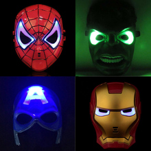 LED Head Mask Super hero Hulk/American captain/Iron Man/Spiderman/Batman Crazy Rubber Party Halloween Costume Mask Children toy(China)
