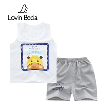 Brand children clothing sets Summer Baby boys Vest T-shirt pants Kids Cartoon fashion sport clothes Sleeveless shorts 2pcs/sets