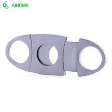 1 Pieces Silver Stainless Steel Pocket Cigar Cutter Knife Double Blades Scissors Shears New Arrival(China)
