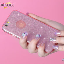 KISSCASE Glitter Case For iPhone 6 6S Plus Cute Pretty Ultra Thin Soft Silicon Bling TPU Back Cover Shell For iPhone 5s 5 Case(China)
