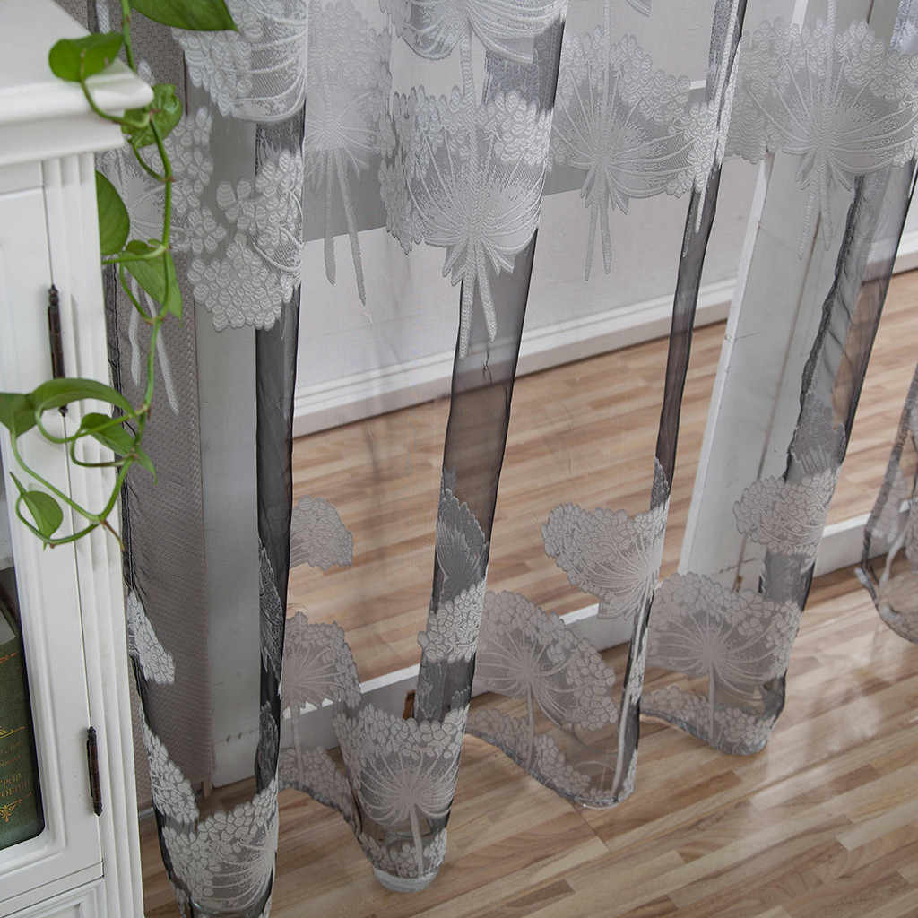 1 PCS Leaves Tulle Door Window Curtain Drape Panel Sheer Scarf Valances new brand Window Fabric Curtain For Bedroom Kitchen