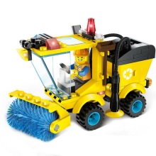 Multifunctional City Road Sweeper Toy Kid Assembled Spell Insert Small Particles Building Blocks Children Forklift Tractor Toys(China)