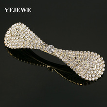 YFJEWE Fashion Hair Accessories Hair wear bow Crystal Hair Clip Pins Wedding Decoration Bridal Head Jewelry for women gift #H012