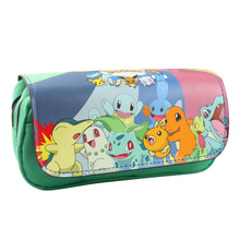 2017 Creative Japanese Pokemon Pencil Case PU Leather Zipper Bag Students Stationery Office School Supplies Pen Pencil Wallets(China)