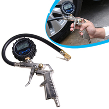 Car digital tire pressure gauge Infi ating gun Professional air tool Connect the inflatable pump Blue backlight night viewable